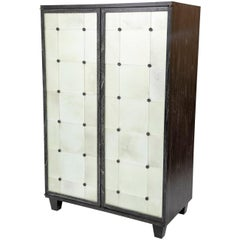 2-Door Ebonized and Cerused Cabinet
