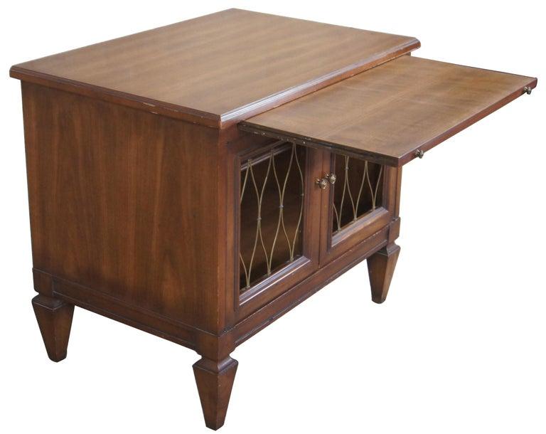 Renaissance 2 Drexel Heritage Movanti Mediterranean Fruitwood Nightstands Grille Doors Tray For Sale