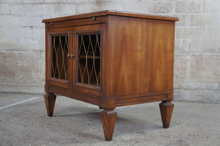 Mid-20th Century 2 Drexel Heritage Movanti Mediterranean Fruitwood Nightstands Grille Doors Tray For Sale