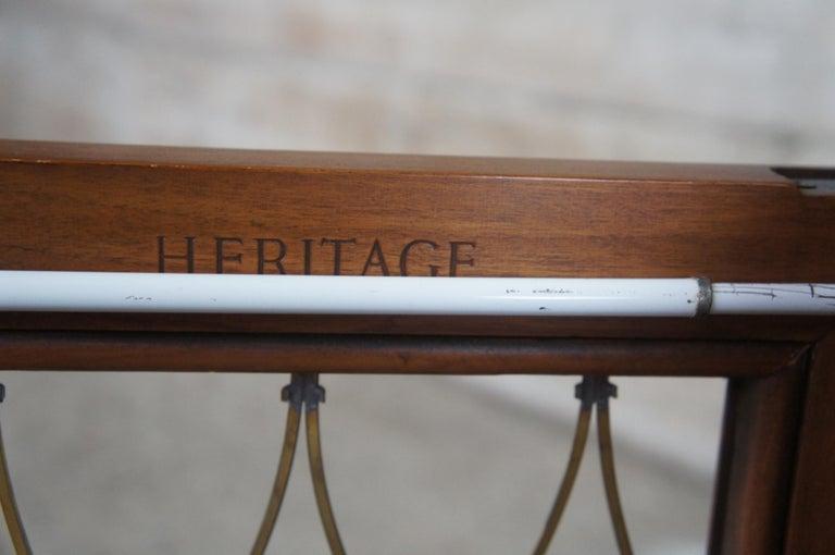 Brass 2 Drexel Heritage Movanti Mediterranean Fruitwood Nightstands Grille Doors Tray For Sale
