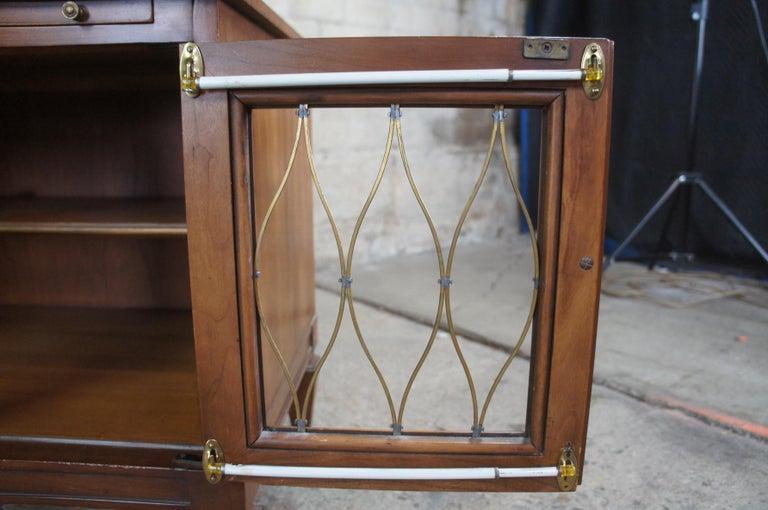 2 Drexel Heritage Movanti Mediterranean Fruitwood Nightstands Grille Doors Tray For Sale 1