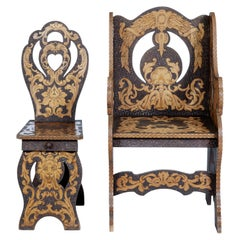 2 Early 20th Century American Arts & Crafts Poker Work Chairs