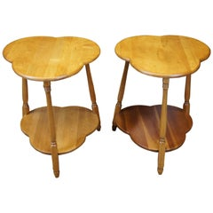 2 Early American Style Birch Trefoil Cloverleaf Colonial Side Accent Tables