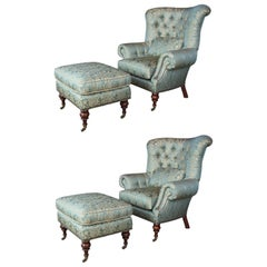 2 EJ Victor Beacon Hill Wingback Kensington Tufted Arm Wing Chairs and Ottomans