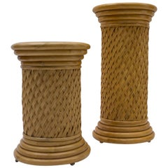 2 Elegant Hollywood Regency Rattan Wicker and Bamboo Columns, 1960s, Italy