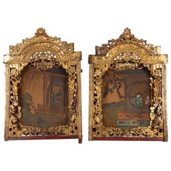 2 Elements of Red and Gold Woodwork Sculpted and Openwork, Painted Silk Backing