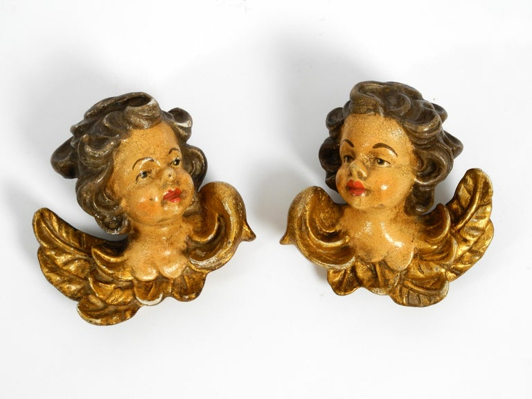 Mid-20th Century 2 Enchanting Little Handmade Italian Wooden Angel Heads from the 1930s to Hang For Sale