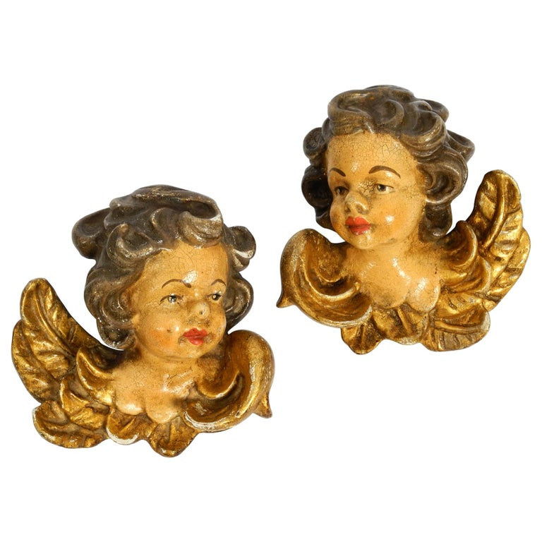 2 Enchanting Little Handmade Italian Wooden Angel Heads from the 1930s to Hang For Sale