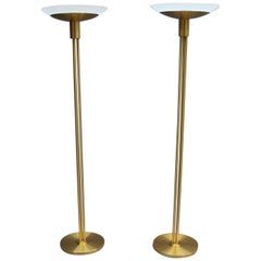 2 Fine French Art Deco Bronze and Glass Floor Lamps by Perzel
