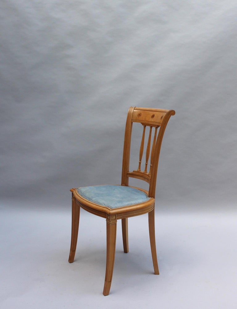 Sycamore 2 Fine French Art Deco Chairs by R. Damon & Bertaux For Sale