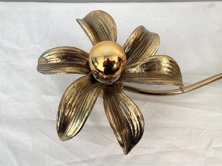 Belgian 2 Flowers Wall Sconce by Willy Daro, 1970s For Sale
