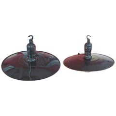 2 French 1950s Hand Painted Enamel Industrial Pendant Lights with 1 Single Light