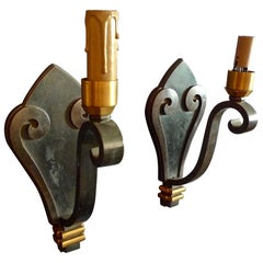2 French 1960s Painted Iron Single Light Sconces