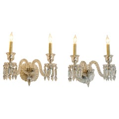 2 French 1970s Bambous Baccarat Crystal Electrified Wall Sconces