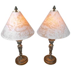 2 French XIX Bronze Candlesticks Converted into Table Lamps With New Shades