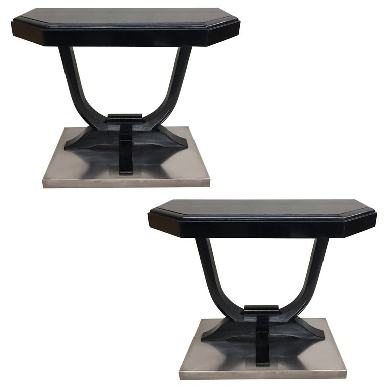 2 French Art Deco Ebonized Wood and Nickel Steel Consoles, 1930 For Sale