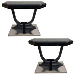 2 French Art Deco Ebonized Wood and Nickel Steel Consoles, 1930