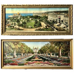 2 French Framed Souvenir Colorized Photos of Nice and Monaco, Early 1900s