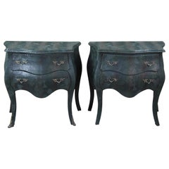 2 French Louis XV Faux Snakeskin Serpentine Bombe Commodes Camo Army Chests