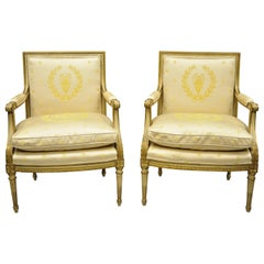 2 French Louis XVI Style Neoclassical Gold Silk Fauteuil Parcel Gilt Armchairs