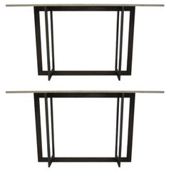 2 French Mid-Century Modern Style Wrought Iron Consoles, Style of Jacques Quinet