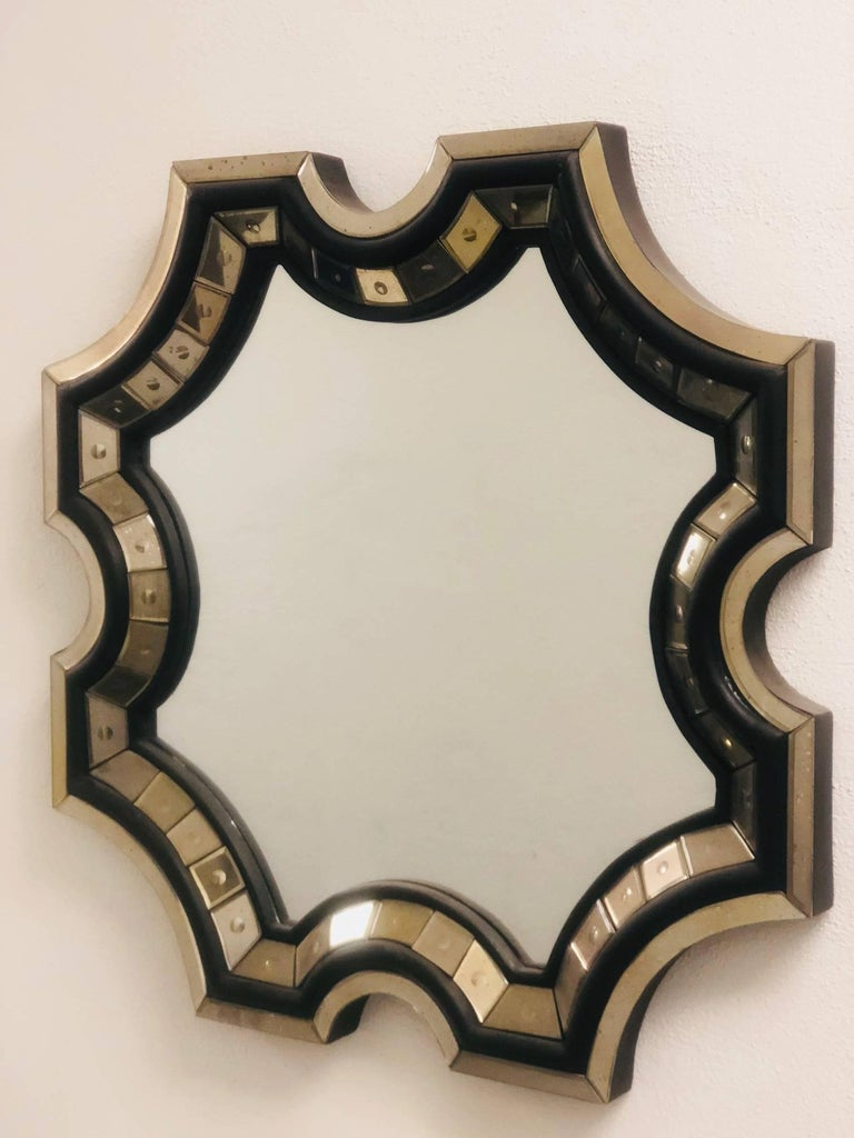 Mid-Century Modern 2 French Mid-Century Style Venetian Octagonal Mirrors in Style of Serge Roche For Sale