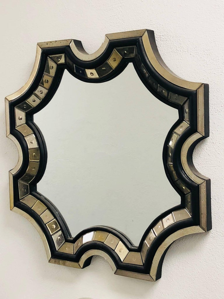 2 French Mid-Century Style Venetian Octagonal Mirrors in Style of Serge Roche In Excellent Condition For Sale In New York, NY