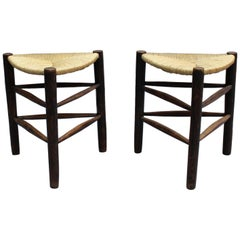 2 French Mid-Century Triangular Stools by Pierre Faucheux