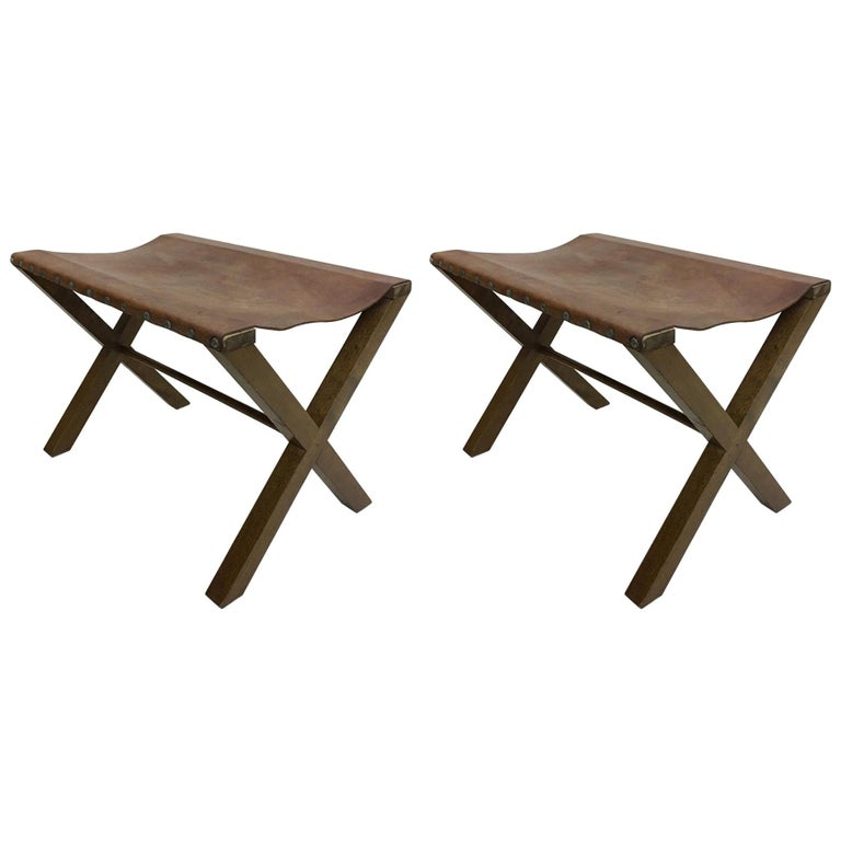 2 French Midcentury Wood and Studded Leather X-Frame Benches, Jean-Michel Frank For Sale