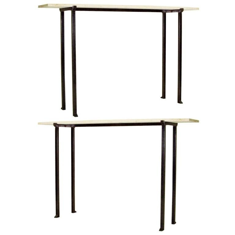 2 French Modern Neoclassical Bronzed Wrought Iron Console, Marc Duplantier Style