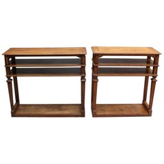 2 French Neoclassical 4-Tiered Console/Sofa Tables