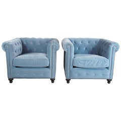 2 Frontgate Barrow Chesterfield Tufted Club Library Chairs Blue Nailhead Modern