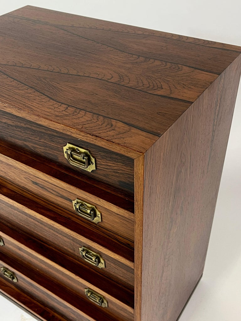 Henning Korch Rosewood Campaign Jewelry Chest of Drawers from Denmark For Sale 3