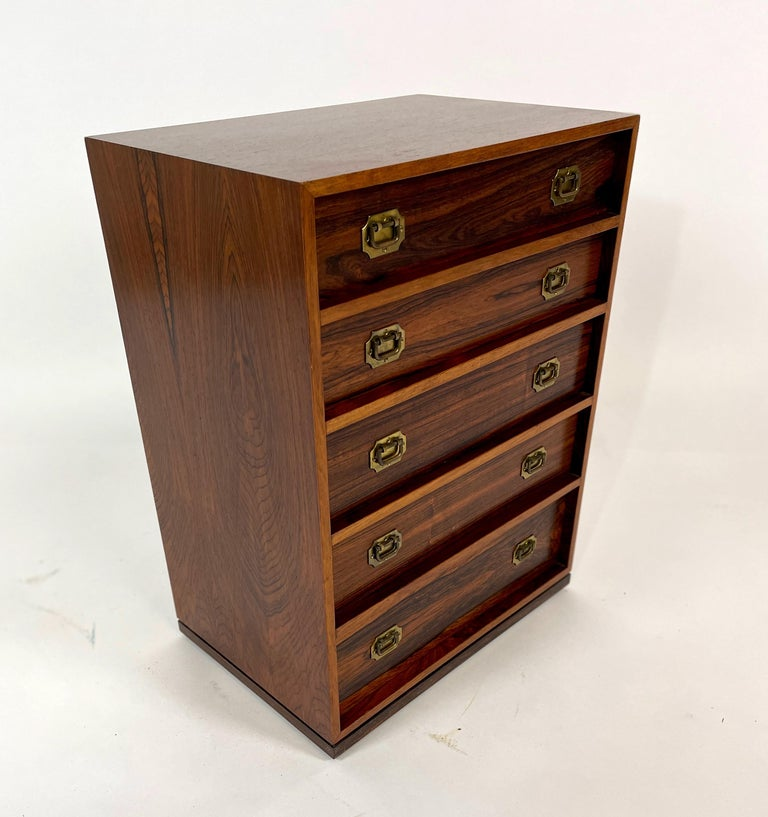 Henning Korch Rosewood Campaign Jewelry Chest of Drawers from Denmark In Good Condition For Sale In Hudson, NY