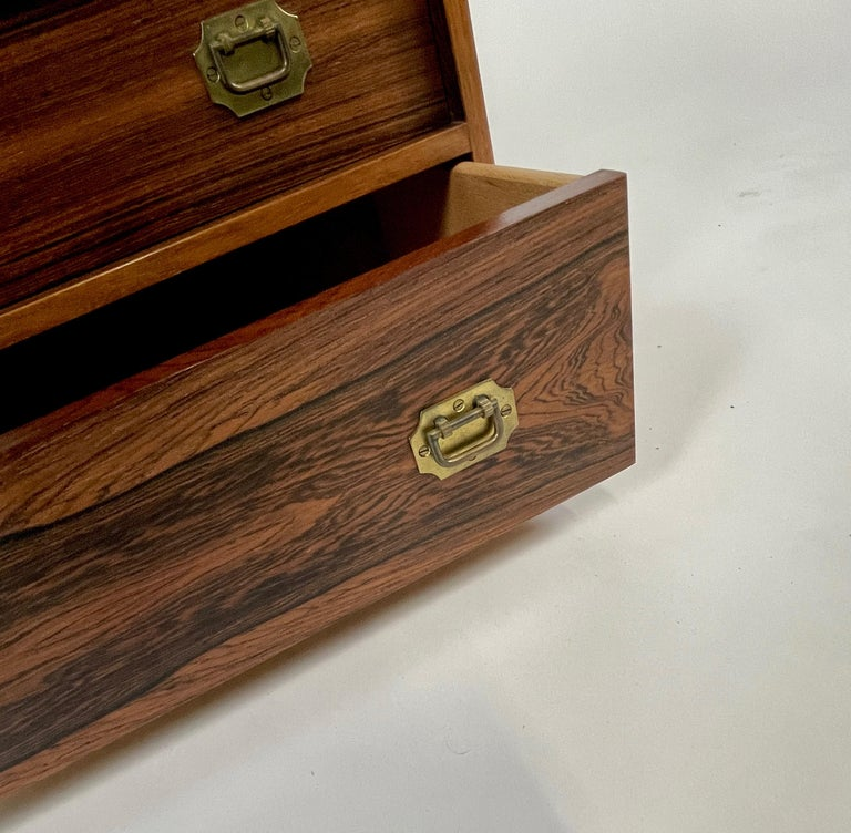 Brass Henning Korch Rosewood Campaign Jewelry Chest of Drawers from Denmark For Sale