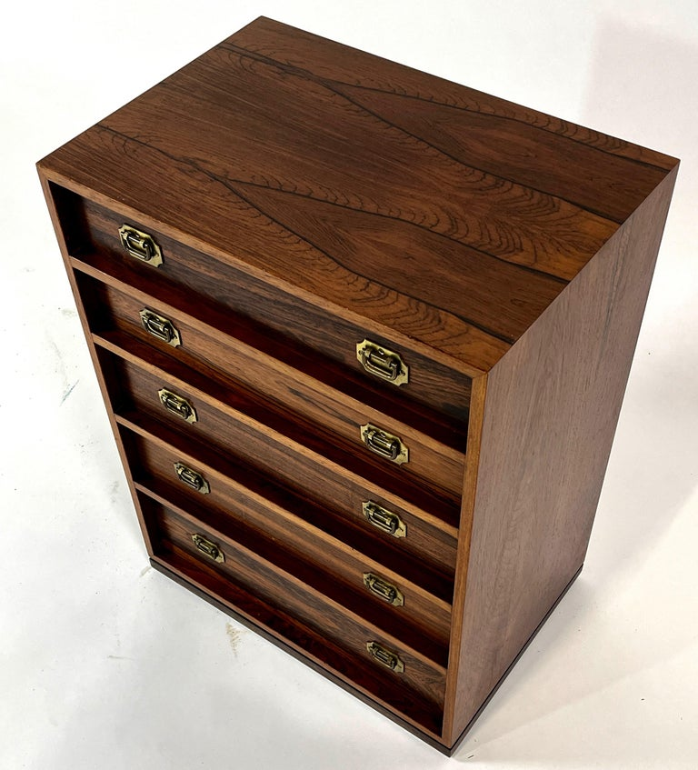 Henning Korch Rosewood Campaign Jewelry Chest of Drawers from Denmark For Sale 1
