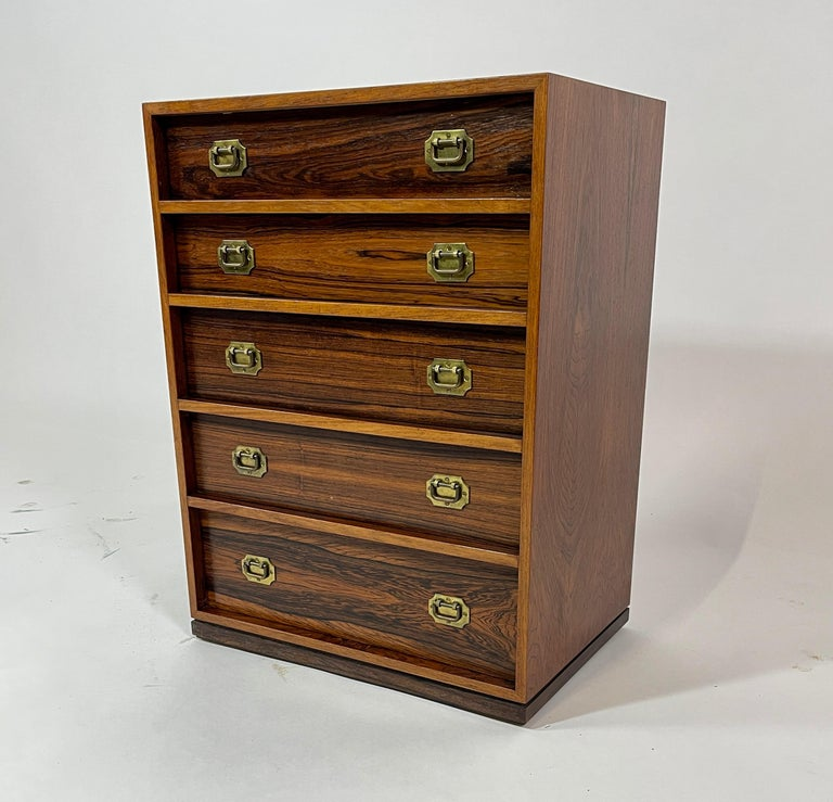Henning Korch Rosewood Campaign Jewelry Chest of Drawers from Denmark For Sale 2