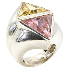 2 Geometric Triangular Pink and Yellow CZ Sterling Silver Rings