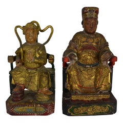 2 Giltwood Chinese Seated Figures
