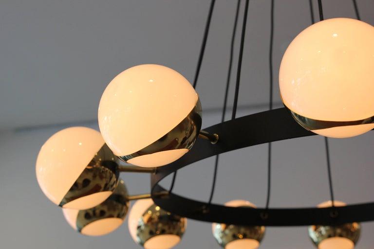 Italian 12 Globe Stilnovo Style Chandelier For Sale