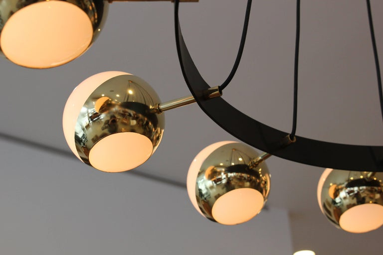 Contemporary 12 Globe Stilnovo Style Chandelier For Sale