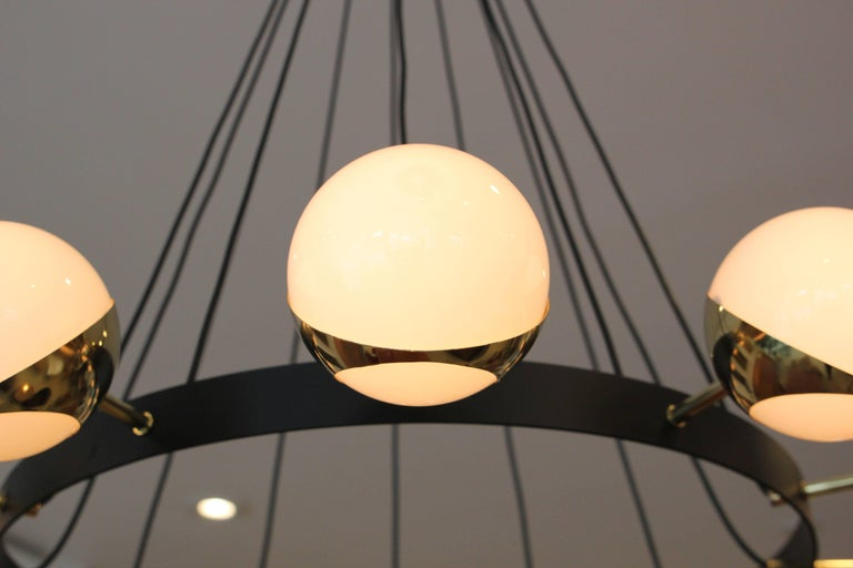 Brass 12 Globe Stilnovo Style Chandelier For Sale
