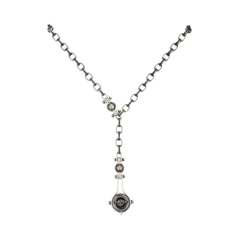 Neoclassical Diamond Drops Necklace by Elie Top For Sale