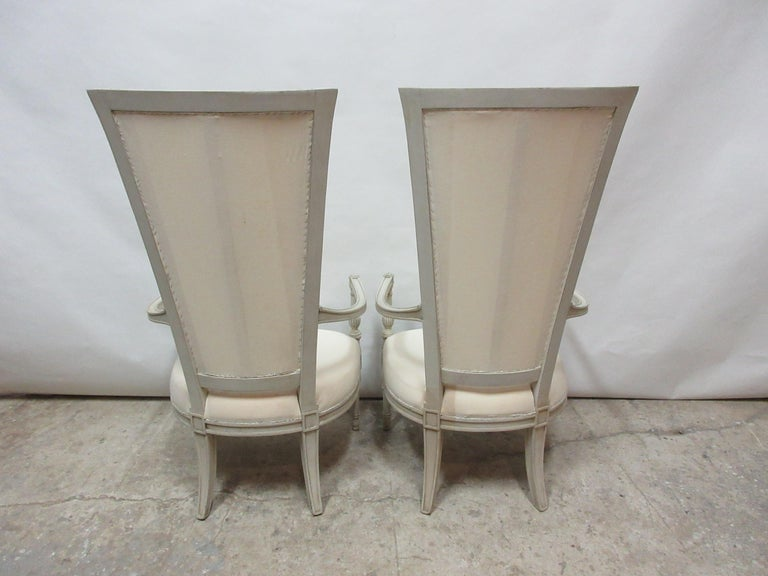 Swedish Set of 2 Gustavian Style Tall Back Armchairs For Sale