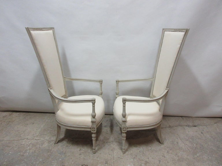 Set of 2 Gustavian Style Tall Back Armchairs In Distressed Condition For Sale In Hollywood, FL