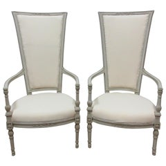 Set of 2 Gustavian Style Tall Back Armchairs