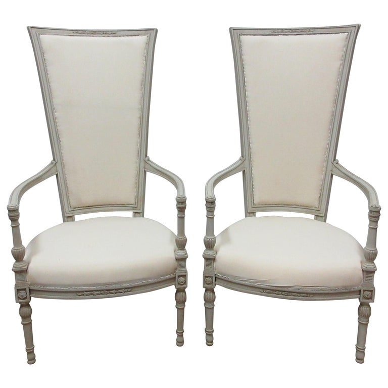 Set of 2 Gustavian Style Tall Back Armchairs For Sale