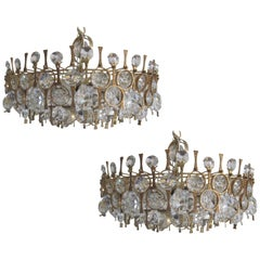 2 Handmade Italian Midcentury Gilt Bronze & Crystal Chandeliers, Angelo Brotto