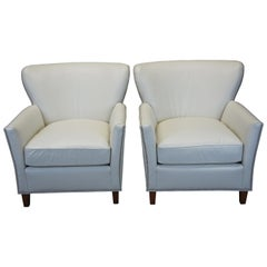 2 Harden White Leather and Nailhead Trim Wingback Club Chairs Arm Library Modern