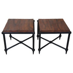 2 Henredon Acquisitions Iron and Wood Slab Campaign Tables Nightstand End Side